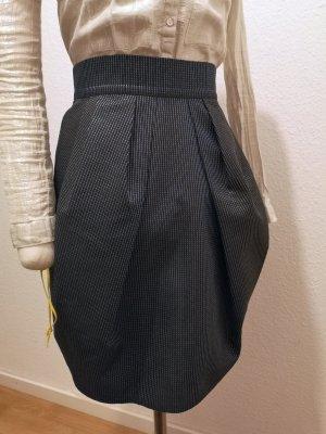 Falda de talle alto negro-gris oscuro