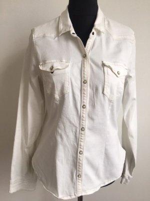 H&M Divided Blouse en jean blanc coton