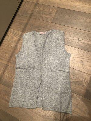 Sweter bez rękawów z cienkiej dzianiny srebrny-jasnoszary