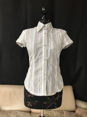 Taillierte kurzarm Bluse vertikal gestreift