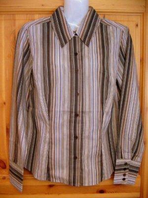 Taillierte Langarm Bluse EXPLORER Größe 38 Streifen