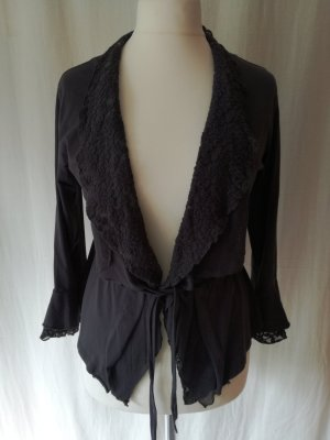 Taillierte Shirt-Jacke mit Spitzenkragen, dunkelblau-grau