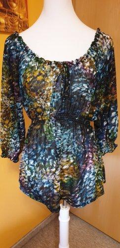 Taillierte Tunika-Bluse aus Chiffon mit buntem Fleckenmuster, Größe S, von H&M