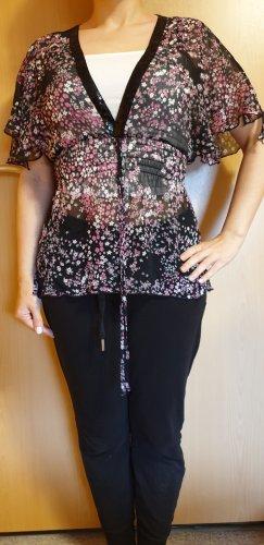 Taillierte Tunika-Bluse mit Paillettenkragen und Blumenmuster, etwa Größe 34/36, von Pimkie