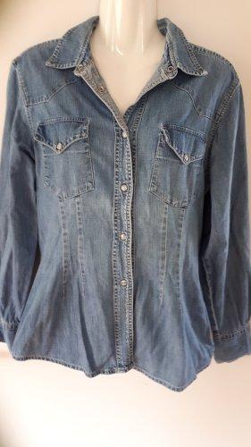Hallhuber Chemise en jean bleu acier-bleu azur coton