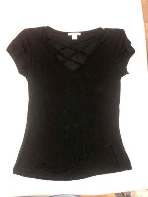 Tailliertes Shirt mit Schnüren am Dekolletee