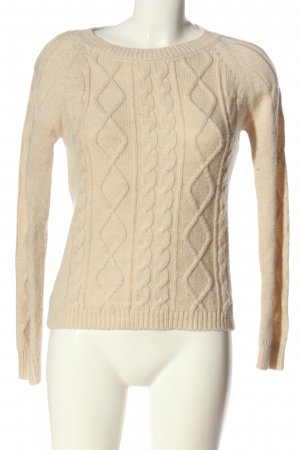 TAILORING THE STANDARDS Crochet Sweater natural white cable stitch casual look