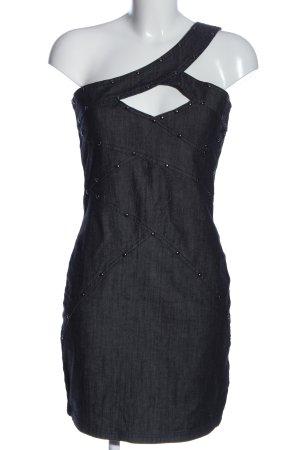Taily Weijl Vestido de un hombro negro estampado con diseño abstracto