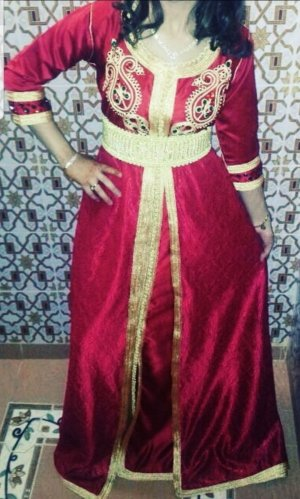 Caftan yellow-dark red
