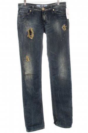Take Two Slim Jeans dunkelblau-goldfarben Metallic-Optik