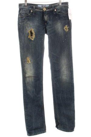 Take Two Jeans slim fit blu scuro-oro Logo applicato (in metallo)