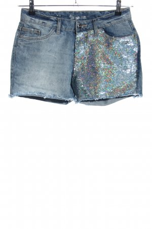 Takko Fashion Jeansshorts blau Glitzer-Optik
