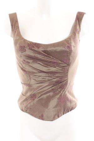 Talbot Runhof Corsagen Top bronzefarben-lila Blumenmuster Elegant