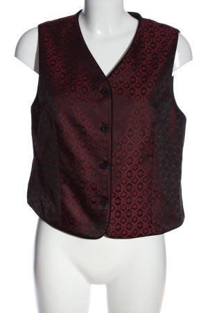 Talbots Gilet tricoté noir-rouge motif abstrait style extravagant
