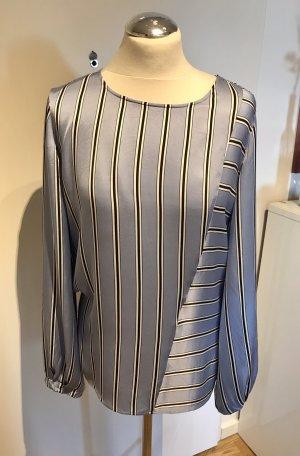 Talk about: Glänzende Satin Bluse mit Streifen Hellblau Schwarz Weiß 38, neuwertig nur 2x getragen