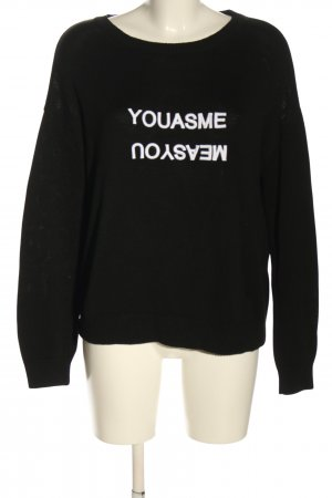 talk about Knitted Sweater black-white printed lettering casual look