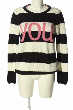 talk about Knitted Sweater printed lettering casual look