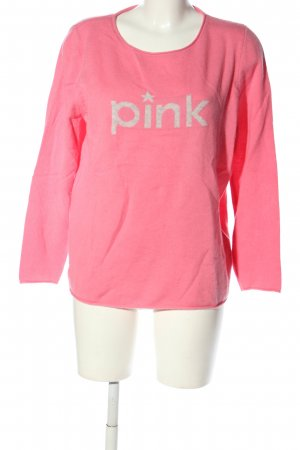 talk about Wool Sweater pink-natural white printed lettering casual look