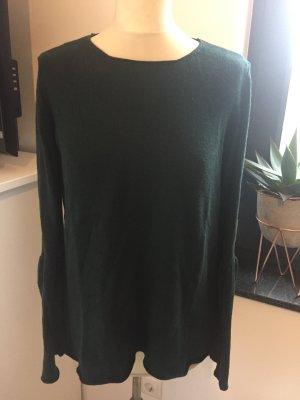 talkbaout Baumwoll Flaschengrüner Pullover mit Rückenausschnitt und Trompetenarm