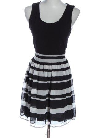 Tally Weijl A-Linien Kleid schwarz-weiß Streifenmuster Elegant