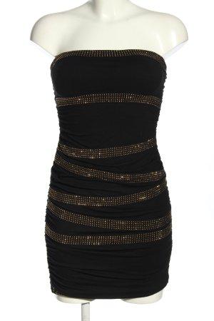 Tally Weijl Abendkleid schwarz-goldfarben Streifenmuster Elegant