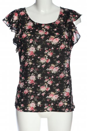 Tally Weijl Sleeveless Blouse black-pink allover print classic style
