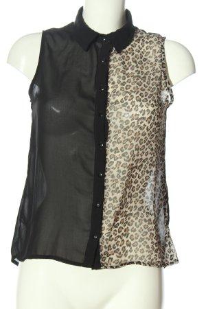 Tally Weijl Blouse topje zwart-wolwit luipaardprint zakelijke stijl