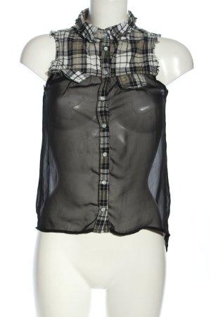 Tally Weijl Blouse topje zwart-wit geruite print casual uitstraling