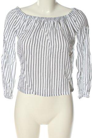 Tally Weijl Carmen-Bluse weiß-schwarz Streifenmuster Casual-Look