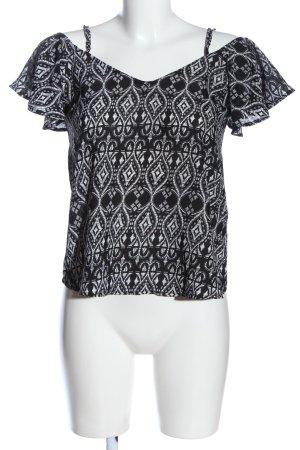 Tally Weijl Carmen-Bluse schwarz-weiß grafisches Muster Casual-Look