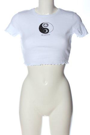 Tally Weijl Cropped shirt wit-zwart prints met een thema casual uitstraling