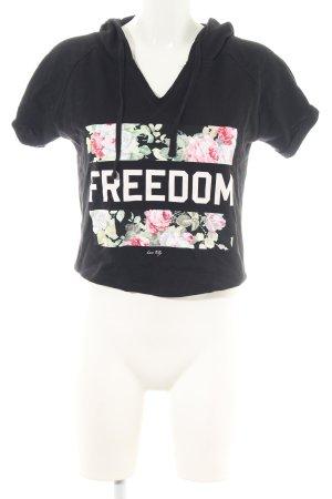 Tally Weijl Cropped Shirt schwarz Blumenmuster Casual-Look
