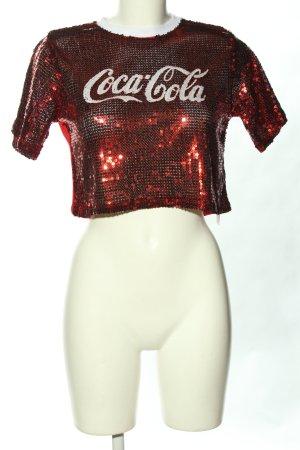 Tally Weijl Cropped shirt rood gedrukte letters glitter-achtig