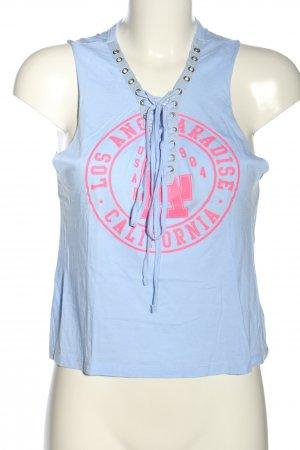 Tally Weijl Cropped Top blau-pink Motivdruck Casual-Look