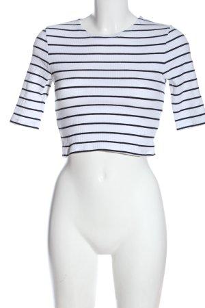 Tally Weijl Cropped Top weiß-schwarz Streifenmuster Casual-Look