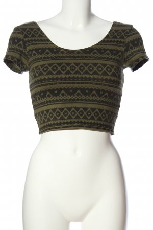 Tally Weijl Cropped Top schwarz-khaki grafisches Muster Casual-Look