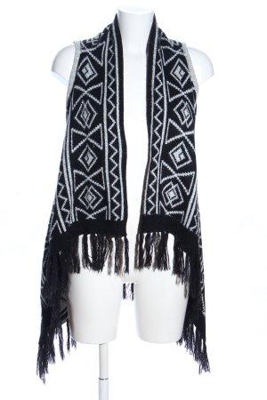 Tally Weijl Chaleco con flecos negro-blanco look casual