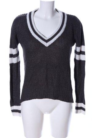 Tally Weijl Grobstrickpullover schwarz-weiß Streifenmuster Casual-Look