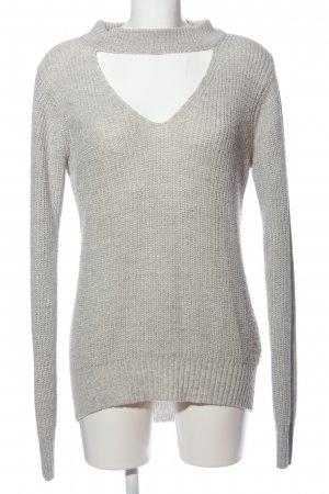 Tally Weijl Coarse Knitted Sweater light grey cable stitch casual look