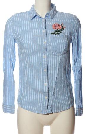 Tally Weijl Hemd-Bluse blau-weiß Allover-Druck Business-Look
