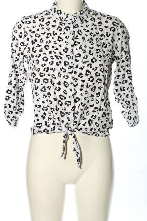Tally Weijl Hemd-Bluse weiß-schwarz Allover-Druck Casual-Look
