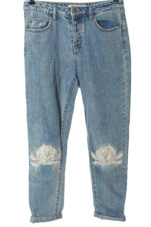 Tally Weijl High Waist Jeans blau Blumenmuster Casual-Look