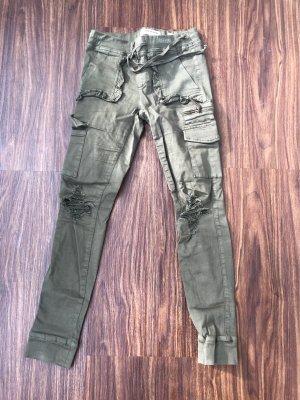 Tally Weijl pantalón de cintura baja verde oscuro