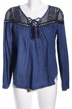 Tally Weijl Jeansbluse blau-schwarz grafisches Muster Casual-Look