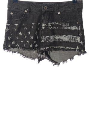 Tally Weijl Pantaloncino di jeans nero-grigio chiaro Stampa a tema stile casual