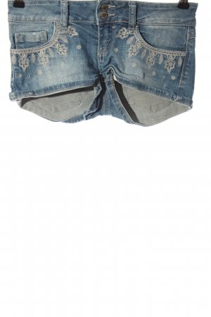 Tally Weijl Denim Shorts blue-light grey embroidered lettering casual look