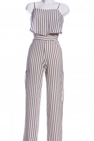 Tally Weijl Jumpsuit weiß-schwarz Streifenmuster Casual-Look