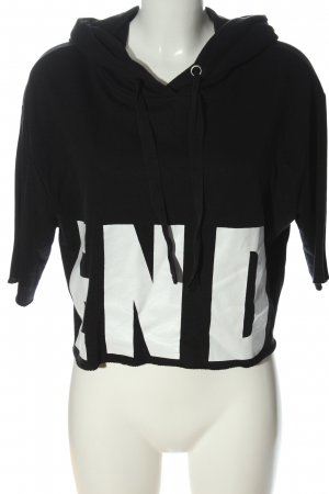 Tally Weijl Hooded Shirt black-white printed lettering casual look
