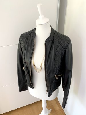 Tally Weijl Faux Leather Jacket black-gold-colored