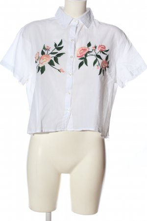 Tally Weijl Kurzarm-Bluse weiß Blumenmuster Business-Look